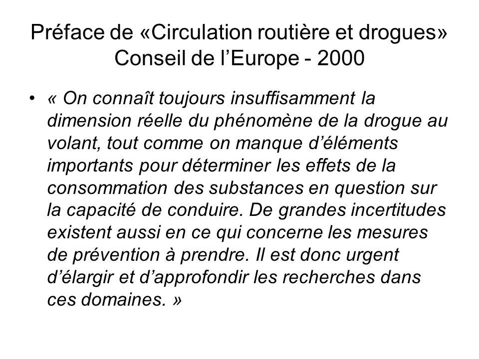Préface de «Circulation routière et drogues» Conseil de l'Europe - 2000