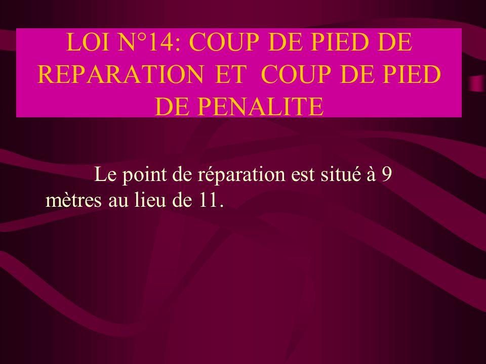 LOI N°14: COUP DE PIED DE REPARATION ET COUP DE PIED DE PENALITE