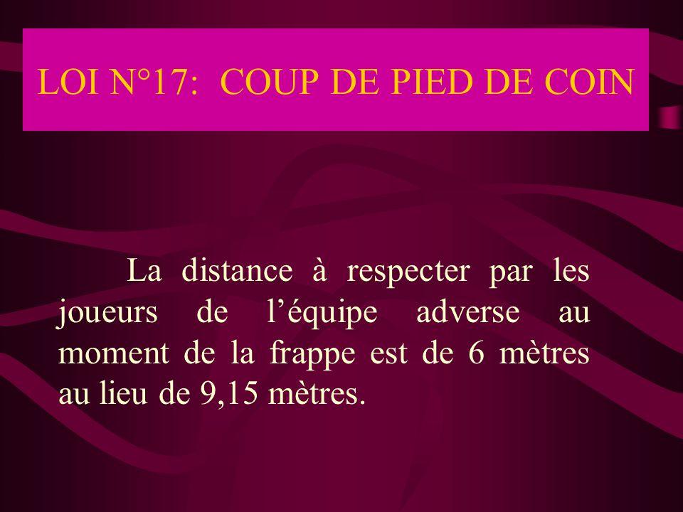 LOI N°17: COUP DE PIED DE COIN