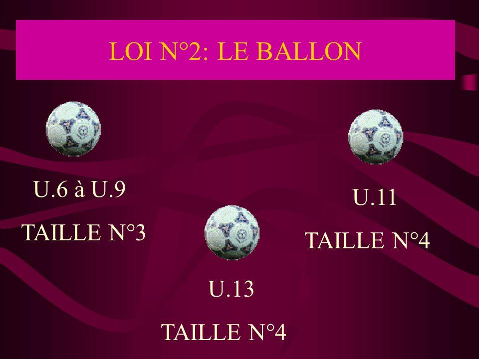LOI N°2: LE BALLON U.6 à U.9 U.11 TAILLE N°3 TAILLE N°4 U.13