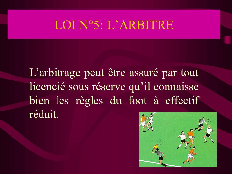 LOI N°5: L'ARBITRE L'arbitrage peut être assuré par tout licencié sous réserve qu'il connaisse bien les règles du foot à effectif réduit.