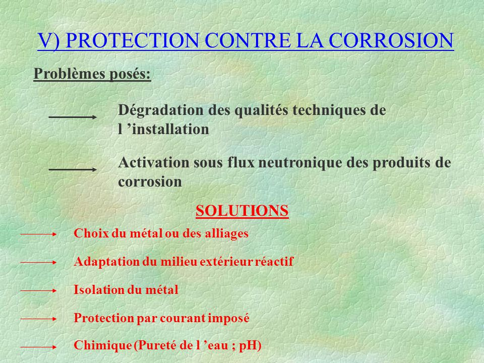 V) PROTECTION CONTRE LA CORROSION