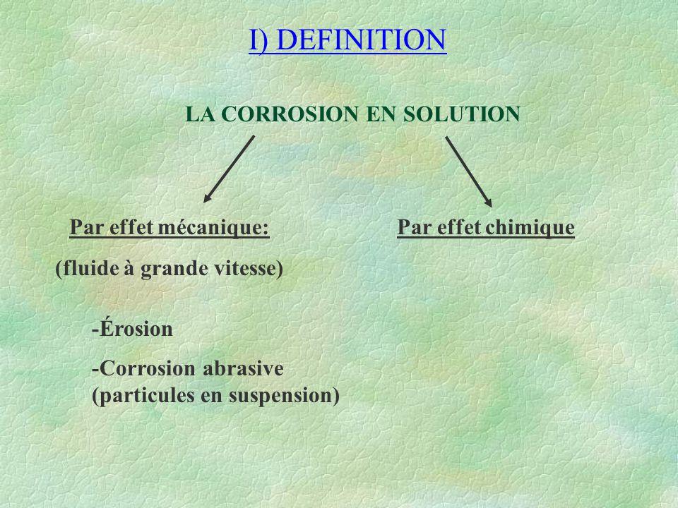 LA CORROSION EN SOLUTION (fluide à grande vitesse)
