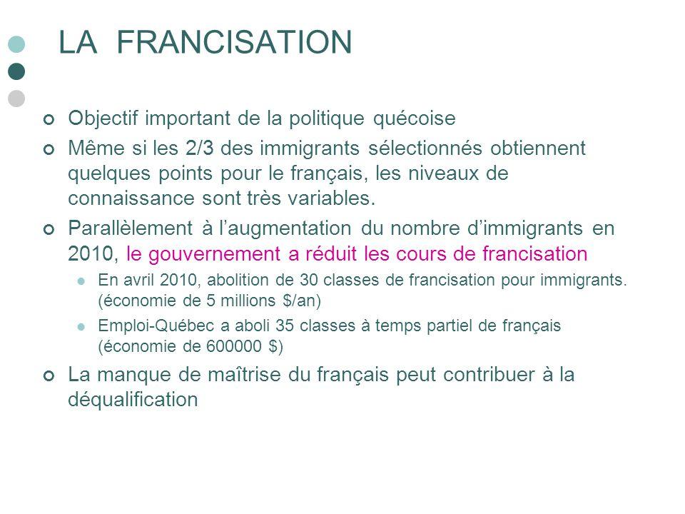 LA FRANCISATION Objectif important de la politique quécoise