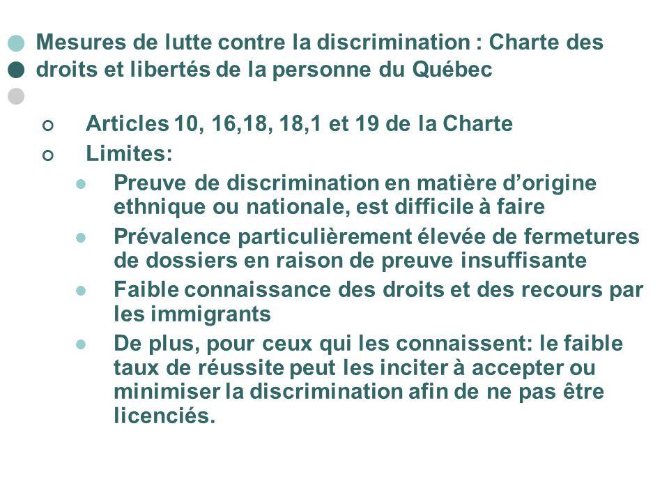Mesures de lutte contre la discrimination : Charte des droits et libertés de la personne du Québec