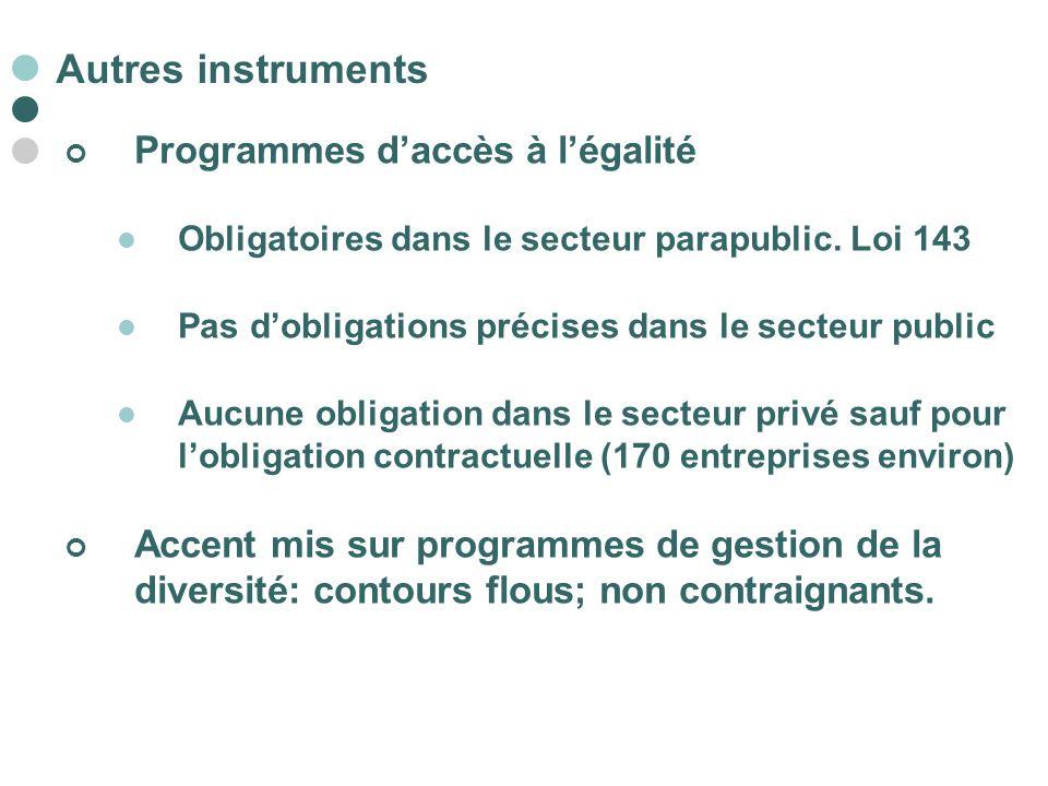 Autres instruments Programmes d'accès à l'égalité
