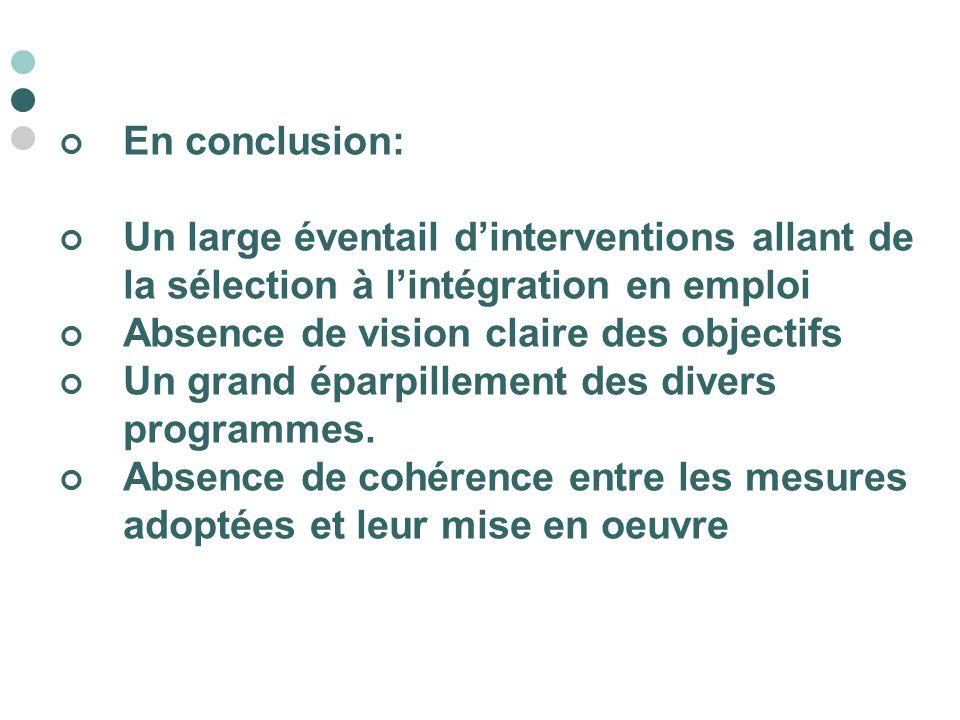 En conclusion: Un large éventail d'interventions allant de la sélection à l'intégration en emploi. Absence de vision claire des objectifs.