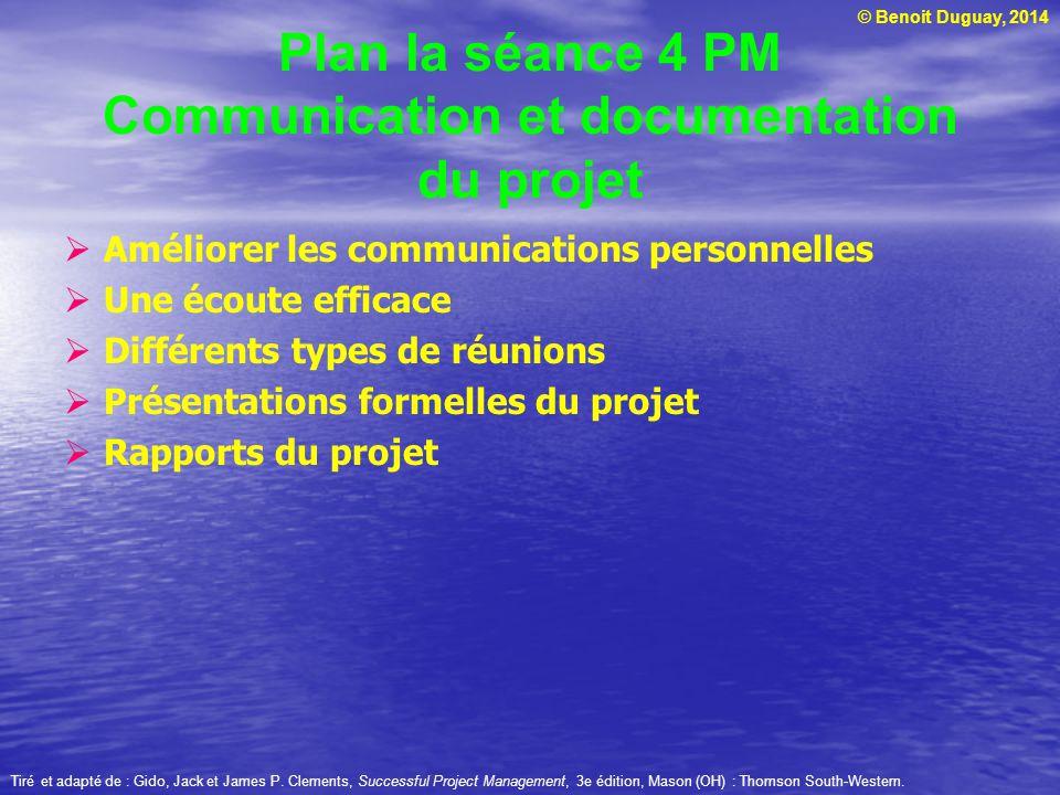 Plan la séance 4 PM Communication et documentation du projet