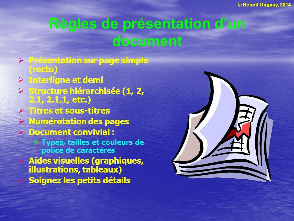 Règles de présentation d'un document