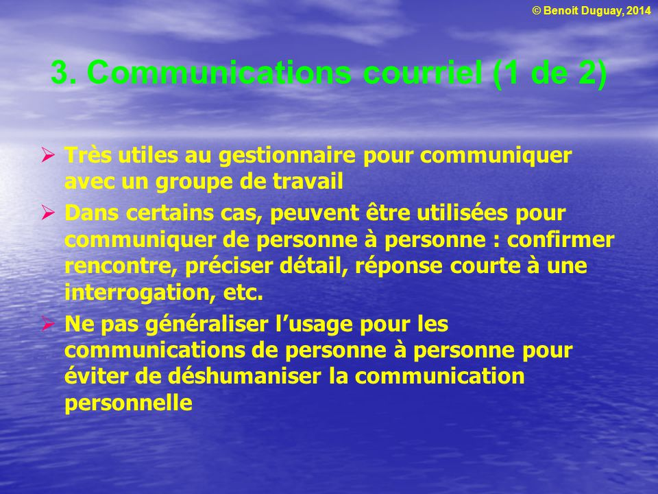 3. Communications courriel (1 de 2)