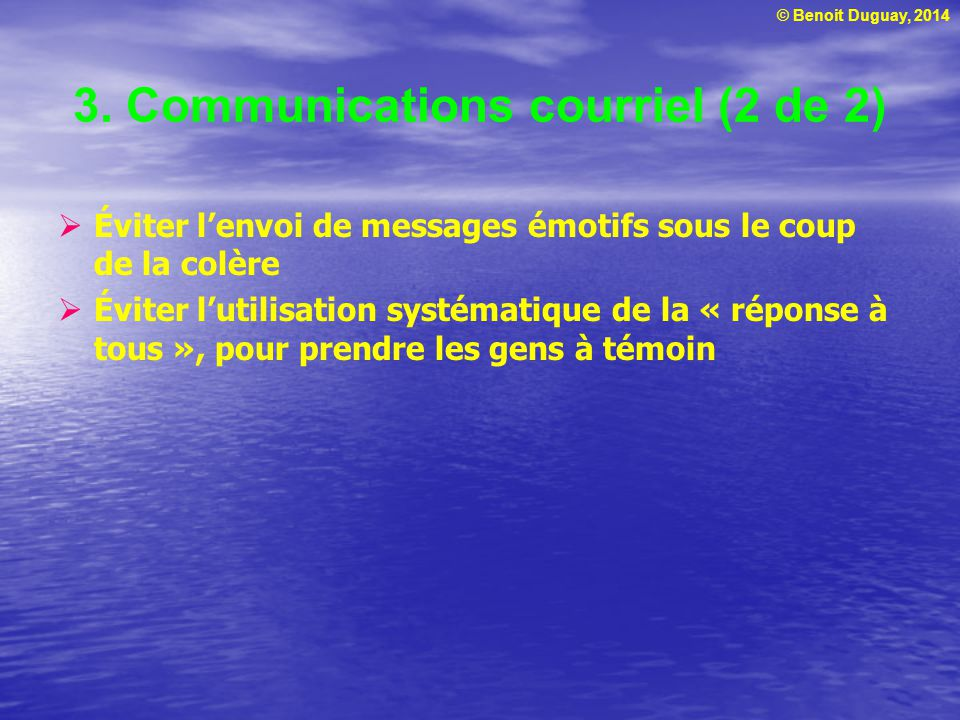 3. Communications courriel (2 de 2)