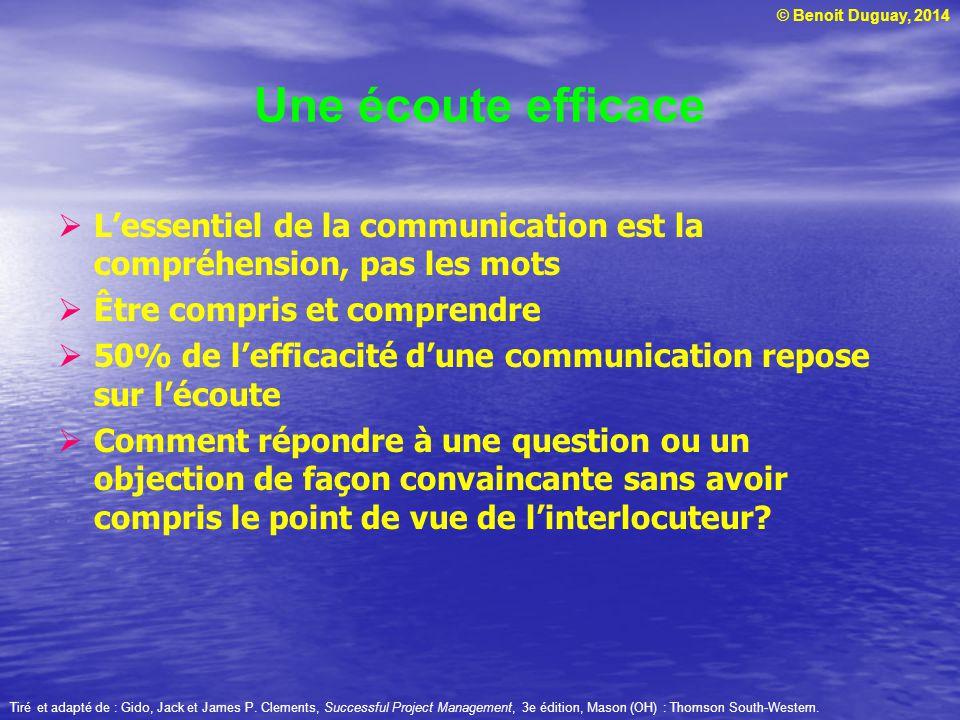 Une écoute efficace L'essentiel de la communication est la compréhension, pas les mots. Être compris et comprendre.