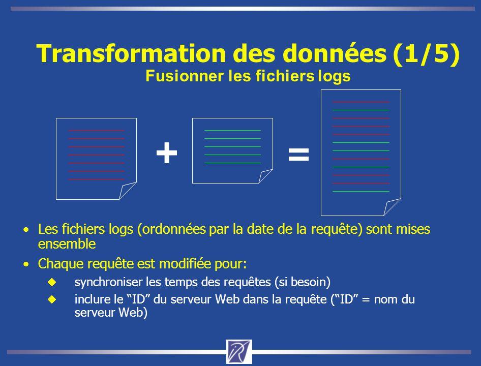 Transformation des données (1/5) Fusionner les fichiers logs
