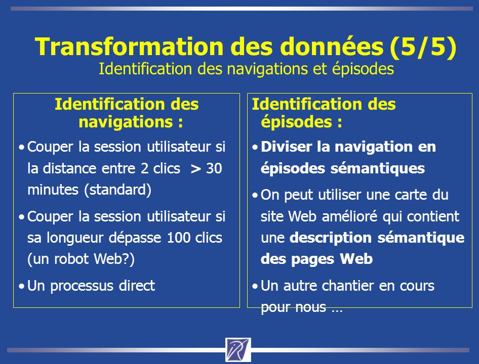 Identification des navigations :