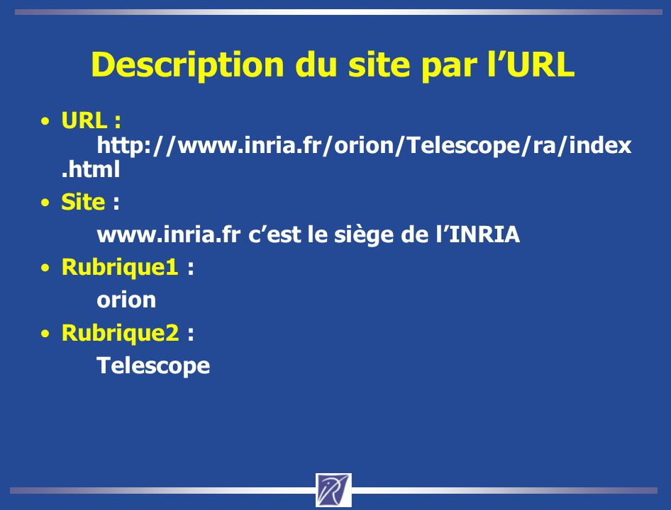 Description du site par l'URL