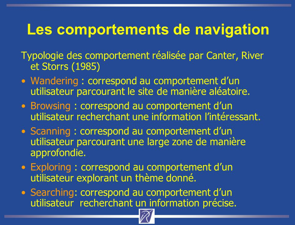 Les comportements de navigation