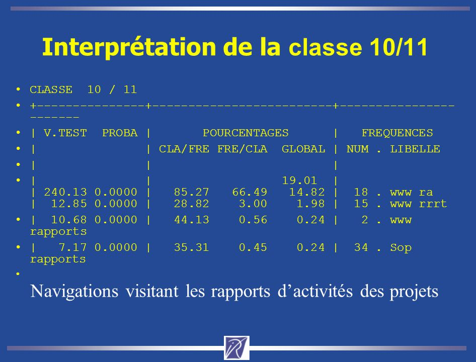 Interprétation de la classe 10/11