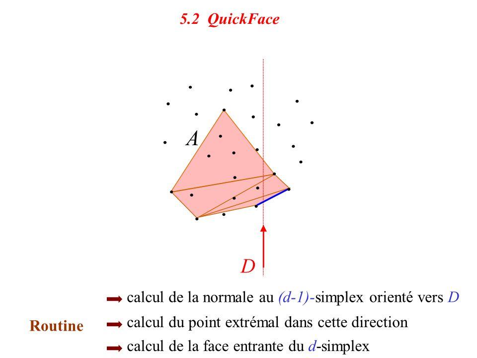 5.2 QuickFace calcul de la normale au (d-1)-simplex orienté vers D. calcul du point extrémal dans cette direction.