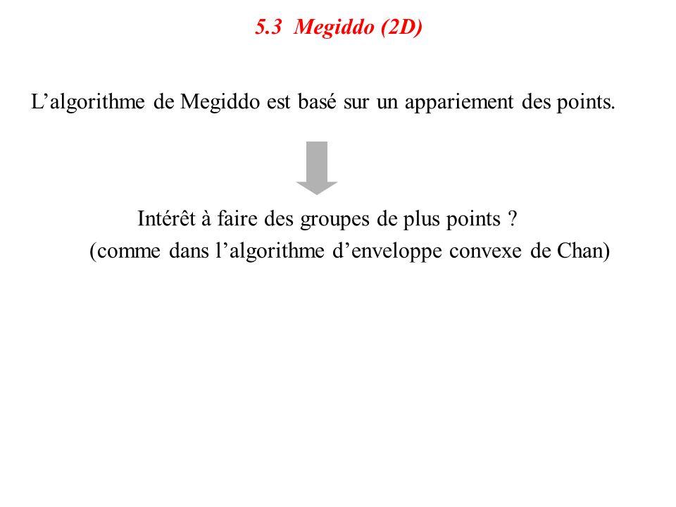 5.3 Megiddo (2D) L'algorithme de Megiddo est basé sur un appariement des points. Intérêt à faire des groupes de plus points