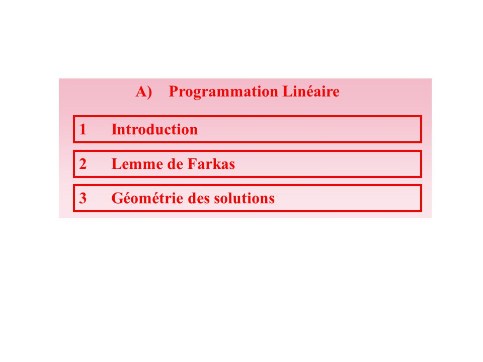 A) Programmation Linéaire