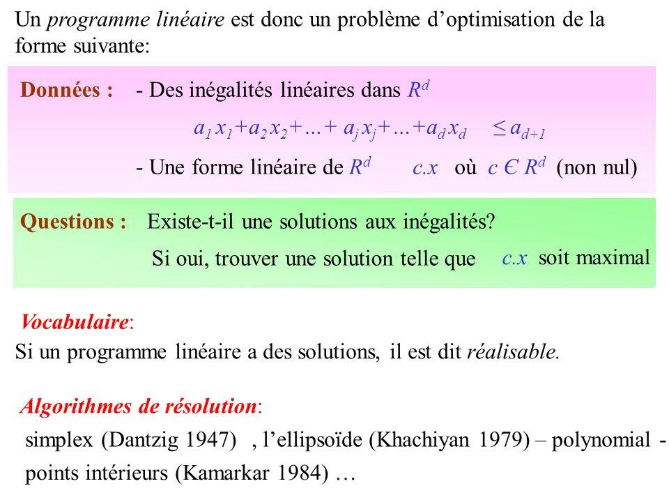 Un programme linéaire est donc un problème d'optimisation de la forme suivante: