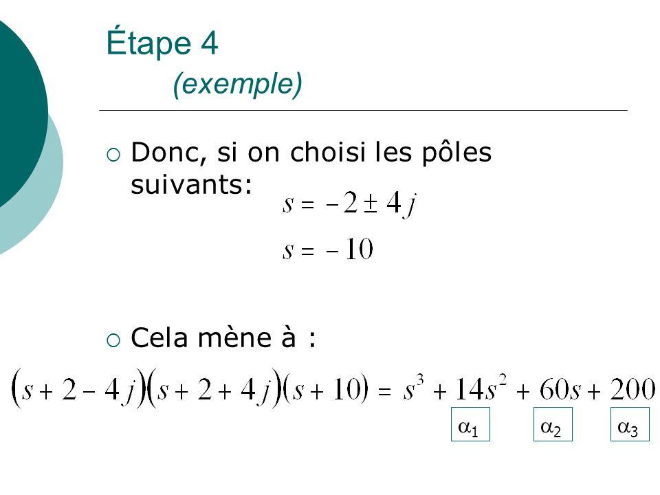 Étape 4 (exemple) Donc, si on choisi les pôles suivants: Cela mène à :