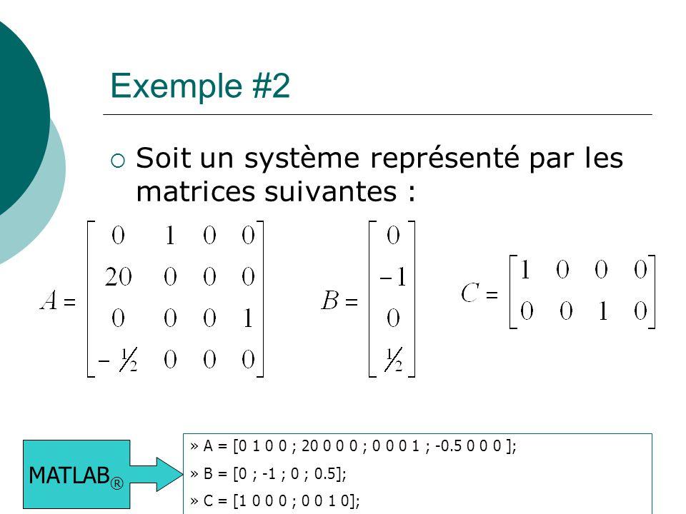 Exemple #2 Soit un système représenté par les matrices suivantes :