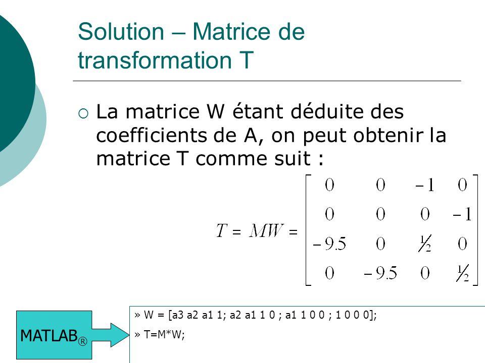 Solution – Matrice de transformation T