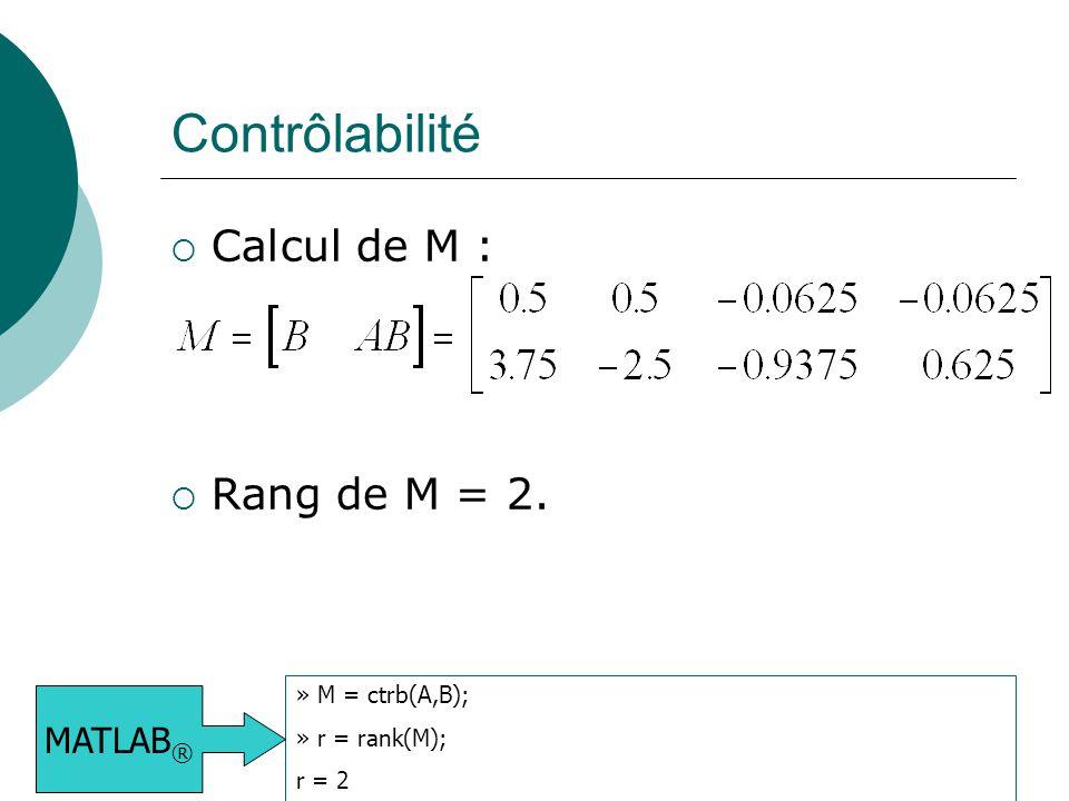 Contrôlabilité Calcul de M : Rang de M = 2. MATLAB® » M = ctrb(A,B);