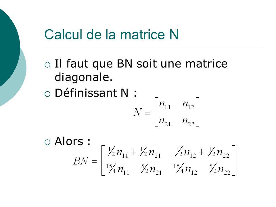 Calcul de la matrice N Il faut que BN soit une matrice diagonale.