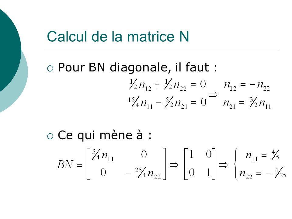 Calcul de la matrice N Pour BN diagonale, il faut : Ce qui mène à :
