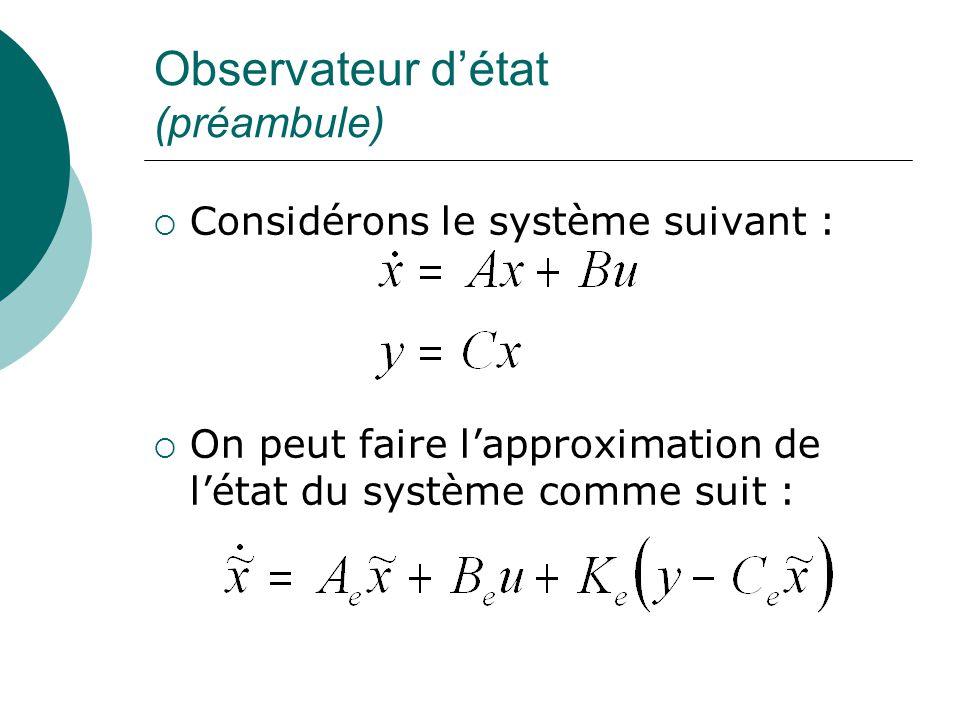 Observateur d'état (préambule)