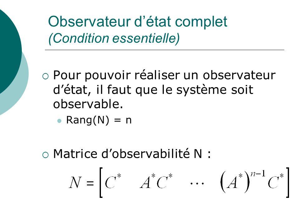 Observateur d'état complet (Condition essentielle)