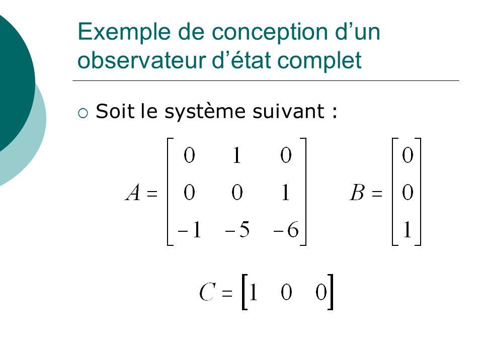 Exemple de conception d'un observateur d'état complet