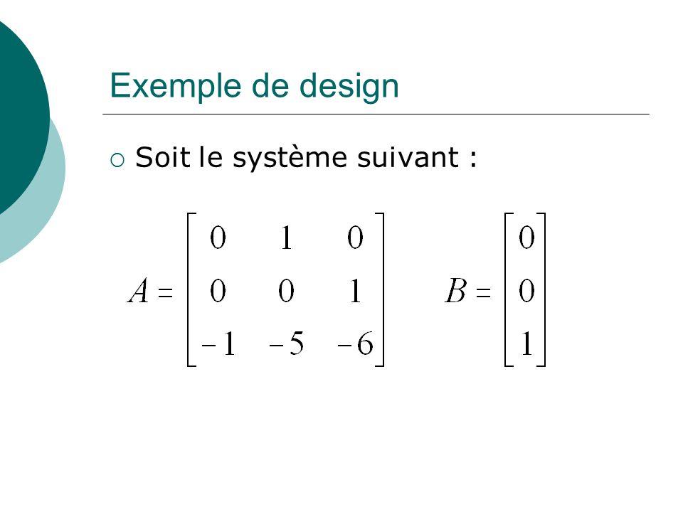 Exemple de design Soit le système suivant :
