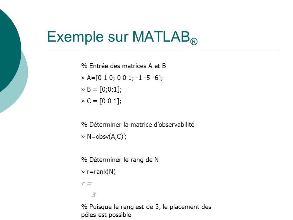 Exemple sur MATLAB® % Entrée des matrices A et B
