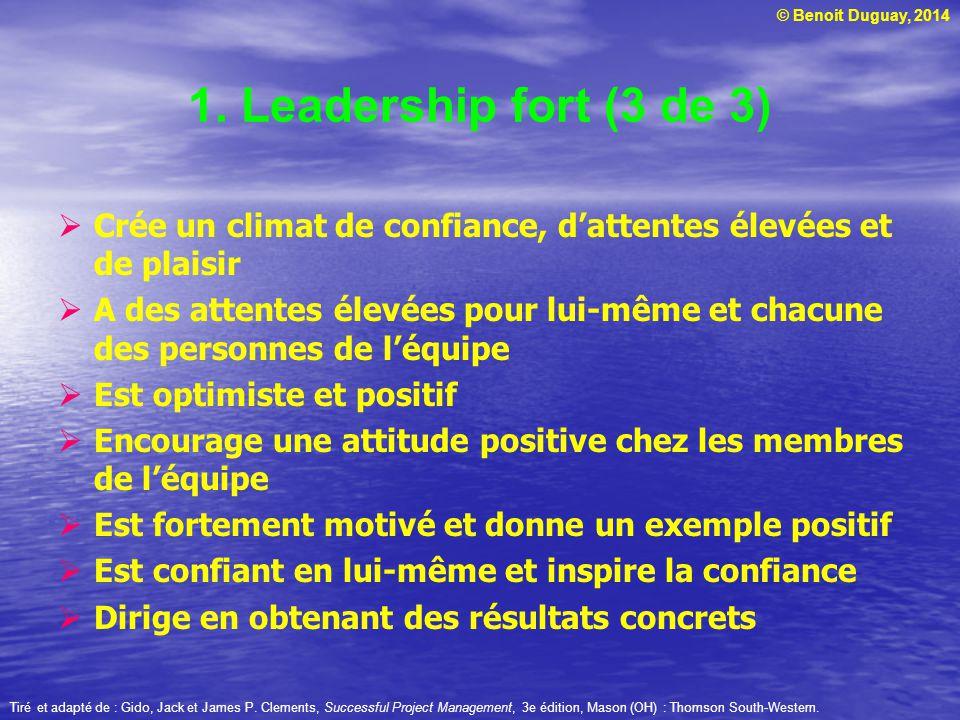 1. Leadership fort (3 de 3) Crée un climat de confiance, d'attentes élevées et de plaisir.
