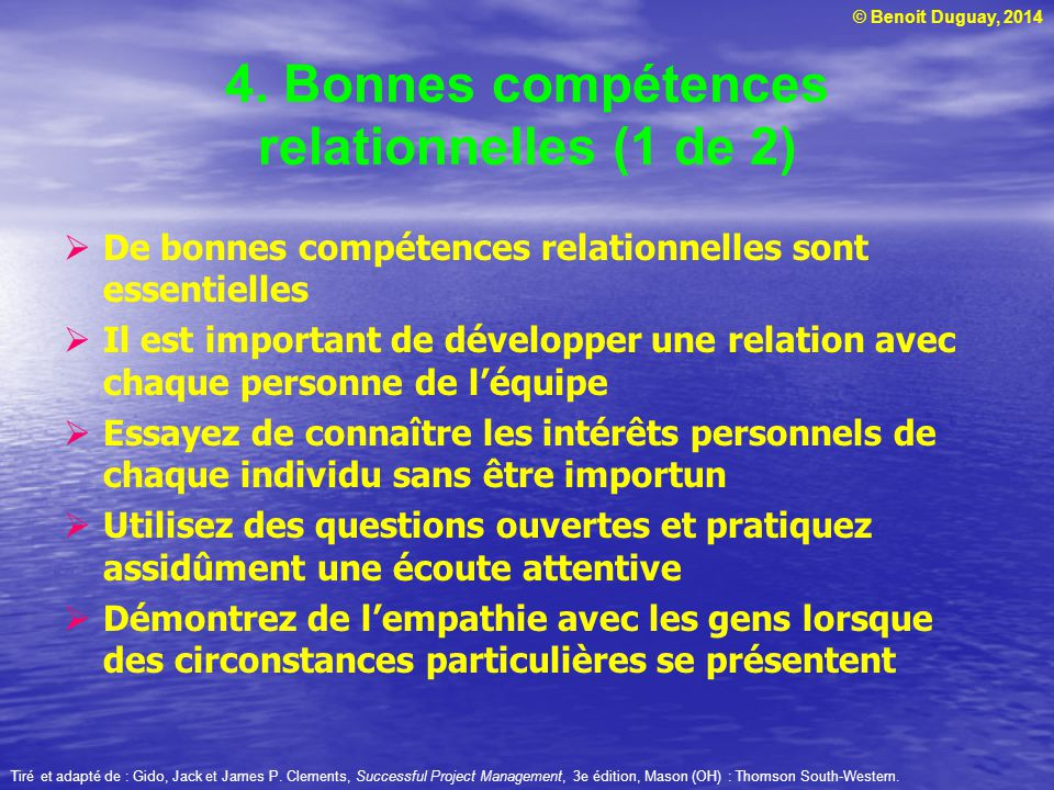 4. Bonnes compétences relationnelles (1 de 2)