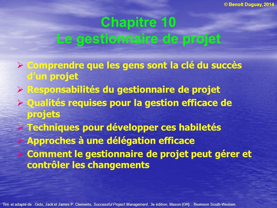 Chapitre 10 Le gestionnaire de projet