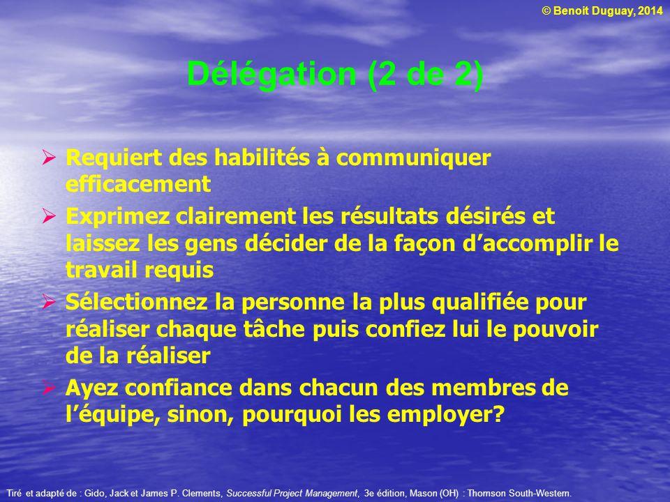 Délégation (2 de 2) Requiert des habilités à communiquer efficacement