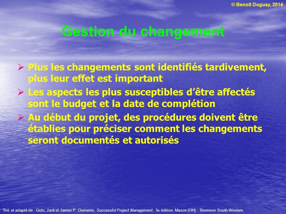 Gestion du changement Plus les changements sont identifiés tardivement, plus leur effet est important.