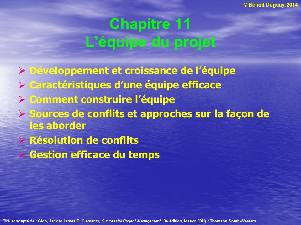 Chapitre 11 L'équipe du projet