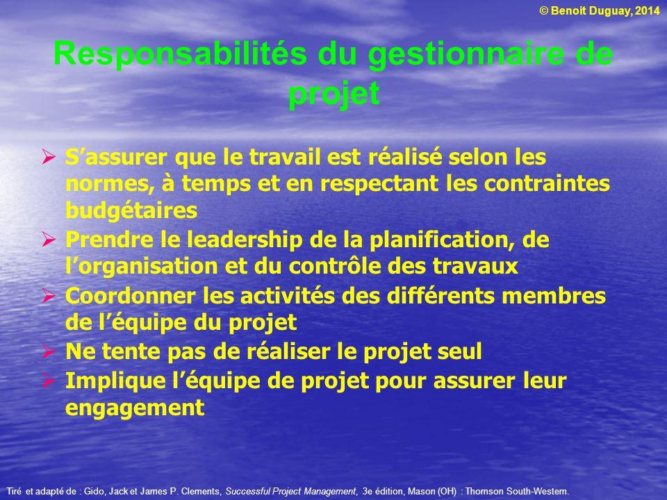 Responsabilités du gestionnaire de projet