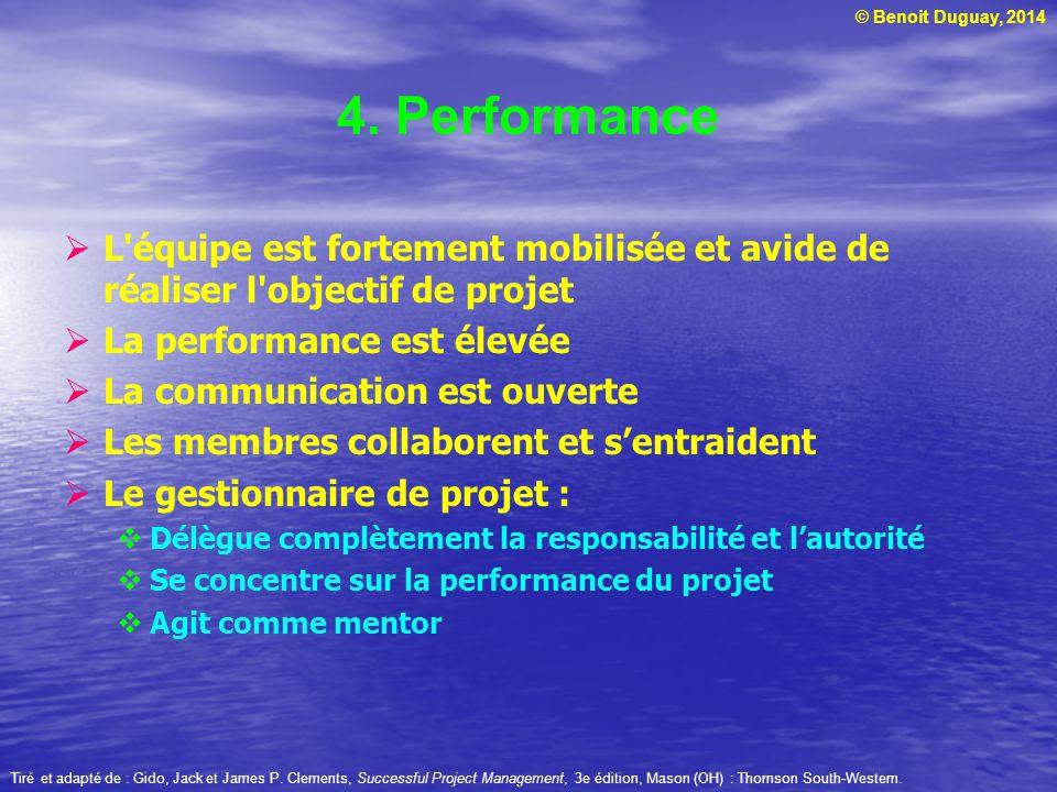 4. Performance L équipe est fortement mobilisée et avide de réaliser l objectif de projet. La performance est élevée.