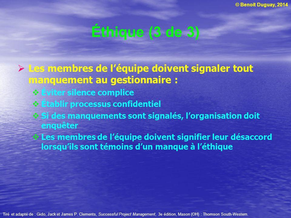 Éthique (3 de 3) Les membres de l'équipe doivent signaler tout manquement au gestionnaire : Éviter silence complice.