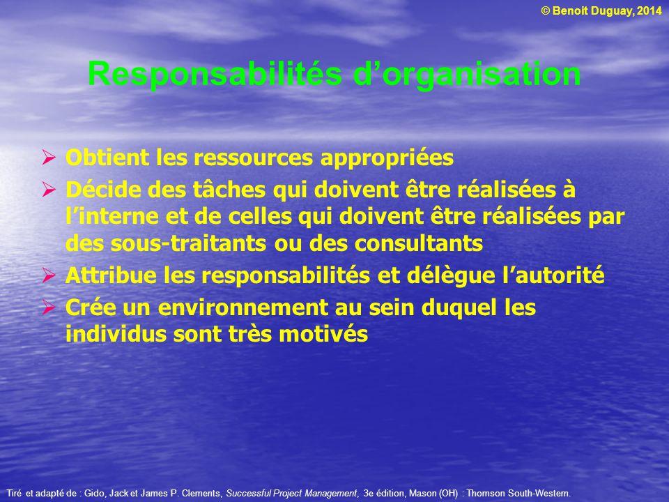 Responsabilités d'organisation