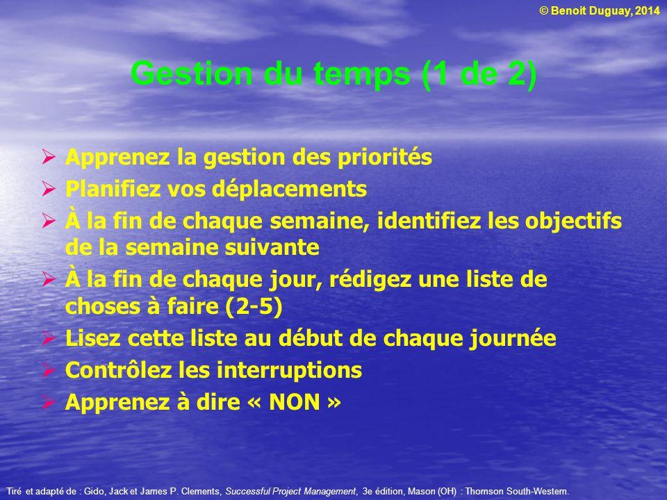 Gestion du temps (1 de 2) Apprenez la gestion des priorités