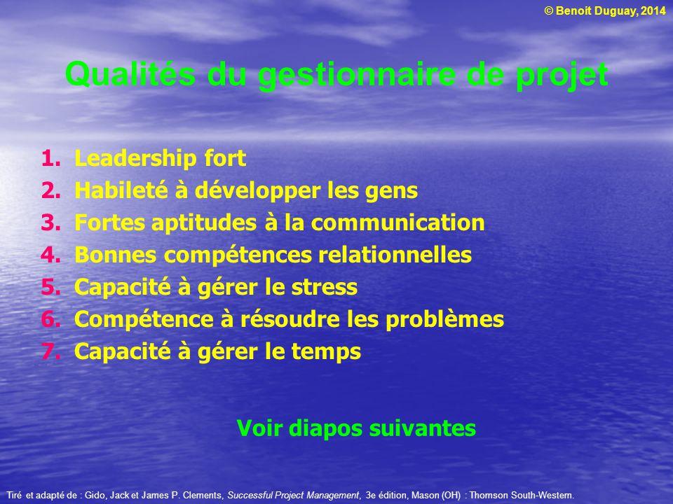 Qualités du gestionnaire de projet