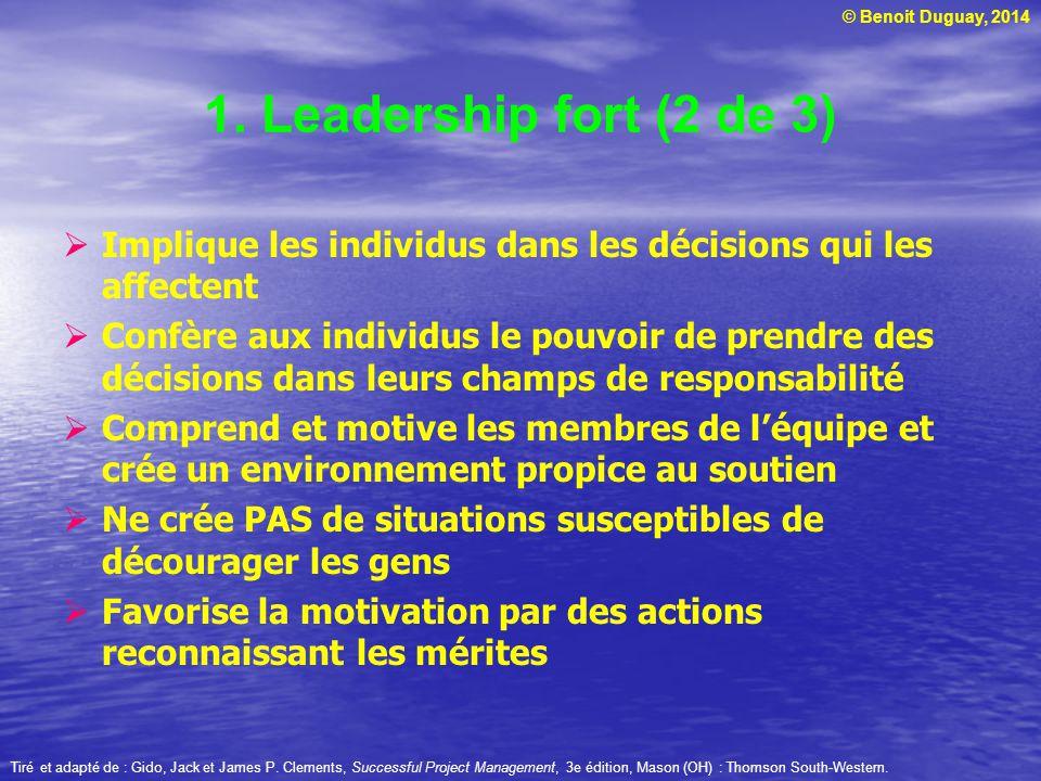 1. Leadership fort (2 de 3) Implique les individus dans les décisions qui les affectent.