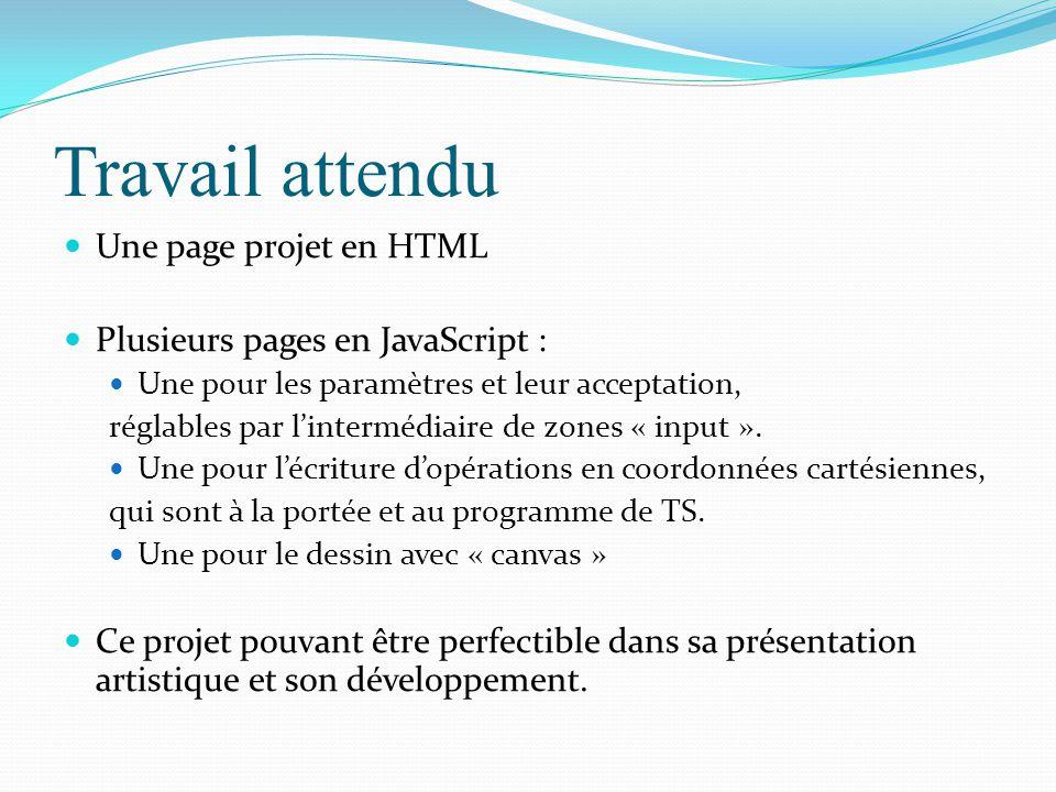 Travail attendu Une page projet en HTML